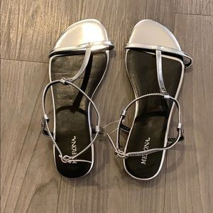 NWOT Silver Metallic Sandals